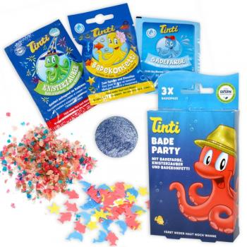TINTI Tub Party (Bathwater Color, Bath Confetti & Crackling Bath) 3pkg in 1